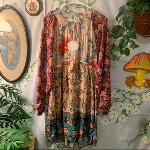 NWT UMGEE boho patchwork long sleeved midi dress